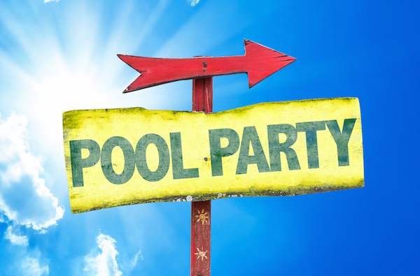 pool party sign with sky in the background, pool builders melbourne fl