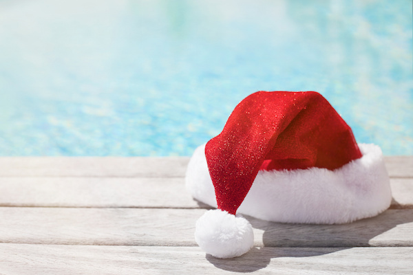 Santa hat by the pool